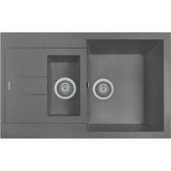 Oliveri Telma Granite 1 & 1/4 Sink Bowl & Drainer 500 x 780 mm Titanium Topmount AM7815-TITANIUM