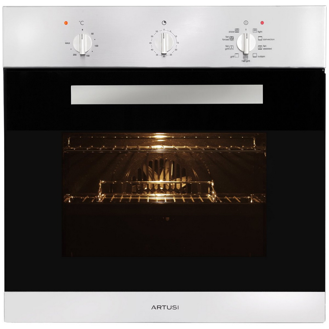 9 Function Built in Oven with Minute Minder 60cm 65L Stainless Steel AO650X