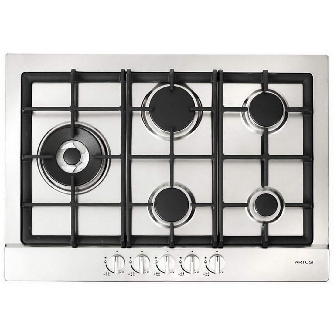 5 Burner Gas Cooktop 70cm with Side WOK Flame Failure Stainless Steel AGH70XFFD