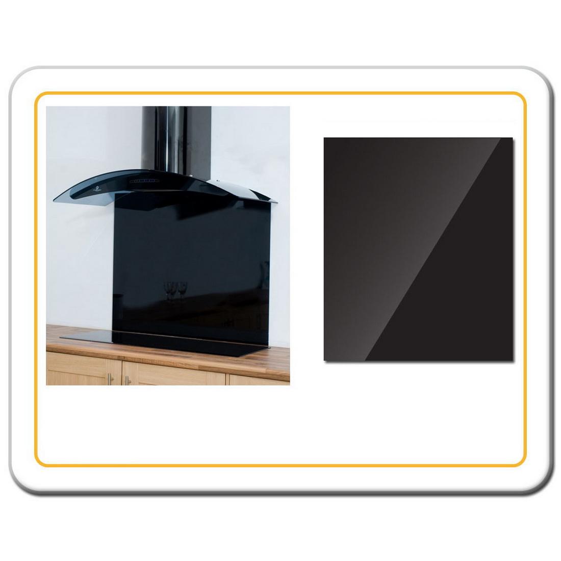 Splashback 750 x 600 x 5mm Black Toughend Glass 75X6SPLASHBLK