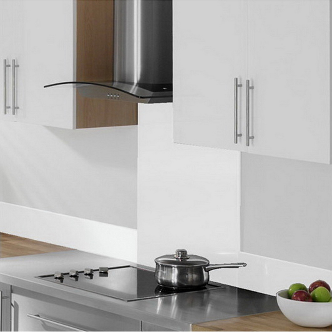 Splashback 750 x 600 x 5 mm White Toughned Glass 75X6SPLASHWH