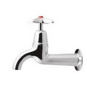 Kowhai Sink Tap 1-Hole 1-Cross Handle 143mm Wall Mount Brass Chrome Plated