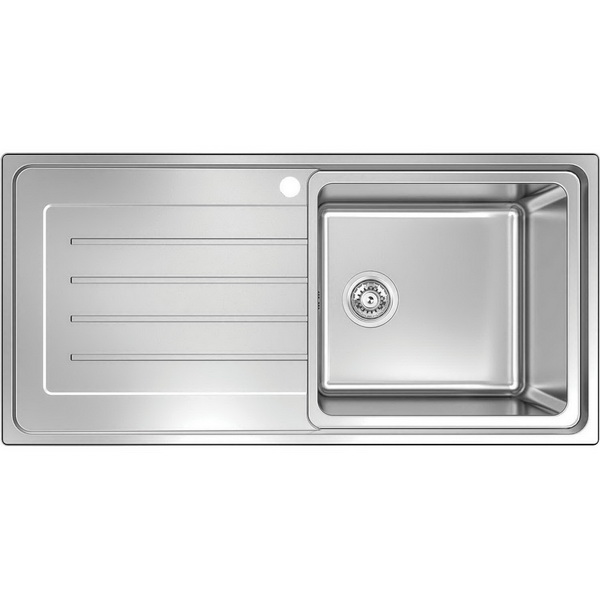 Burns & Ferrall Delta Reversible Single Bowl Sink with Drainer 430mm x 400mm x 200mm Silky Sheen