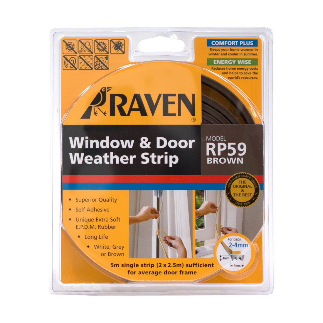 RP59 Weather Strip 9 x 4mm x 5m EPDM Rubber Brown 4982