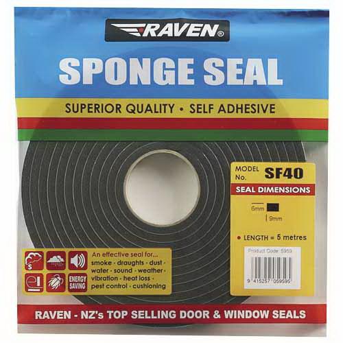 SF40 Multi-Purpose Sponge Seal 9 x 6mm x 5m PVC Sponge Black 5959