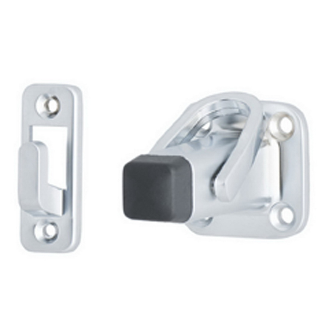 Square Base Latching Back Door Stop 75mm Satin Chrome 218SC