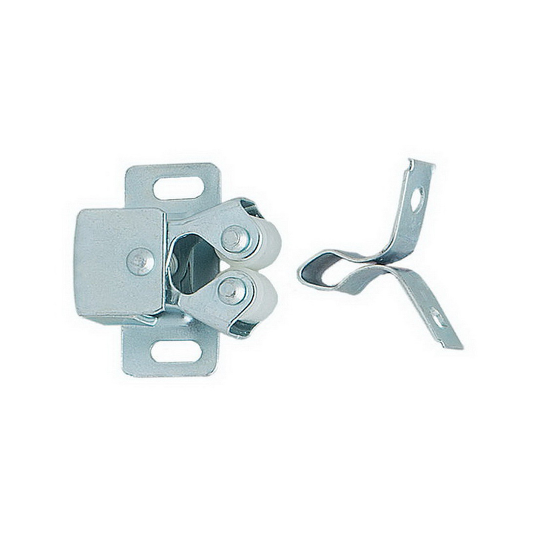 Double Roller Cupboard Catch Zinc