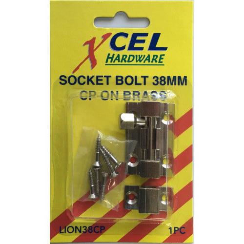 Socket Bolt 38mm Brass Bronze Carded LION38FB