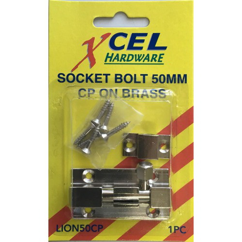 Socket Bolt 50mm Brass Bronze Carded LION50FB