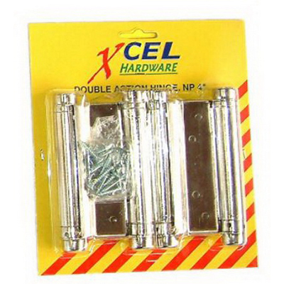 Double Action Bomber Hinge 100mm Nickel Plated 2 card PREP382