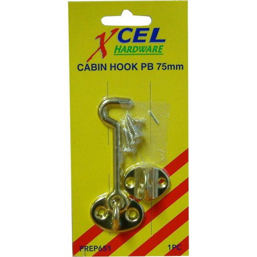 Cabin Hook 75mm Polished Brass Carded PREP651