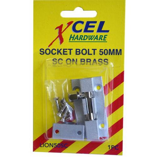 Socket Bolt 75mm Brass Satin Chrome Carded LION75SC