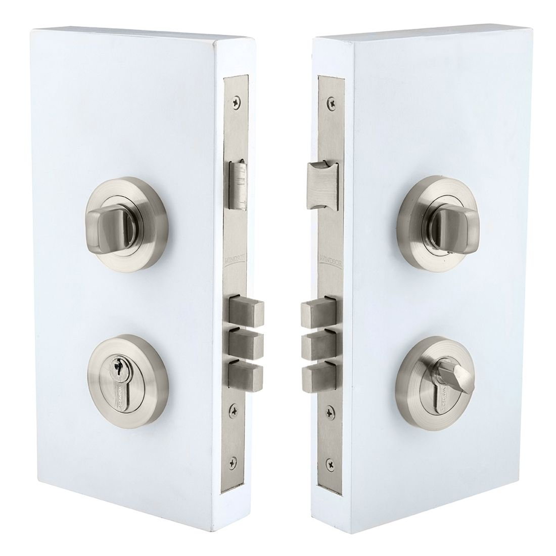 Pull Handle Double Turn Lock Round 60mm Brushed Nickel