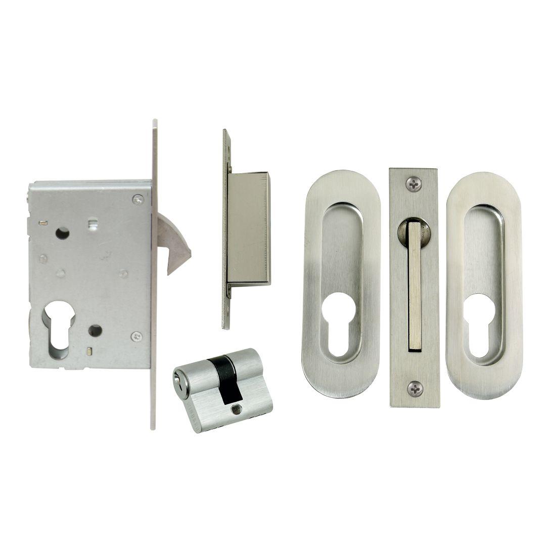 Sliding Door Lock Kit Oval Flushpulls Stainless Steel