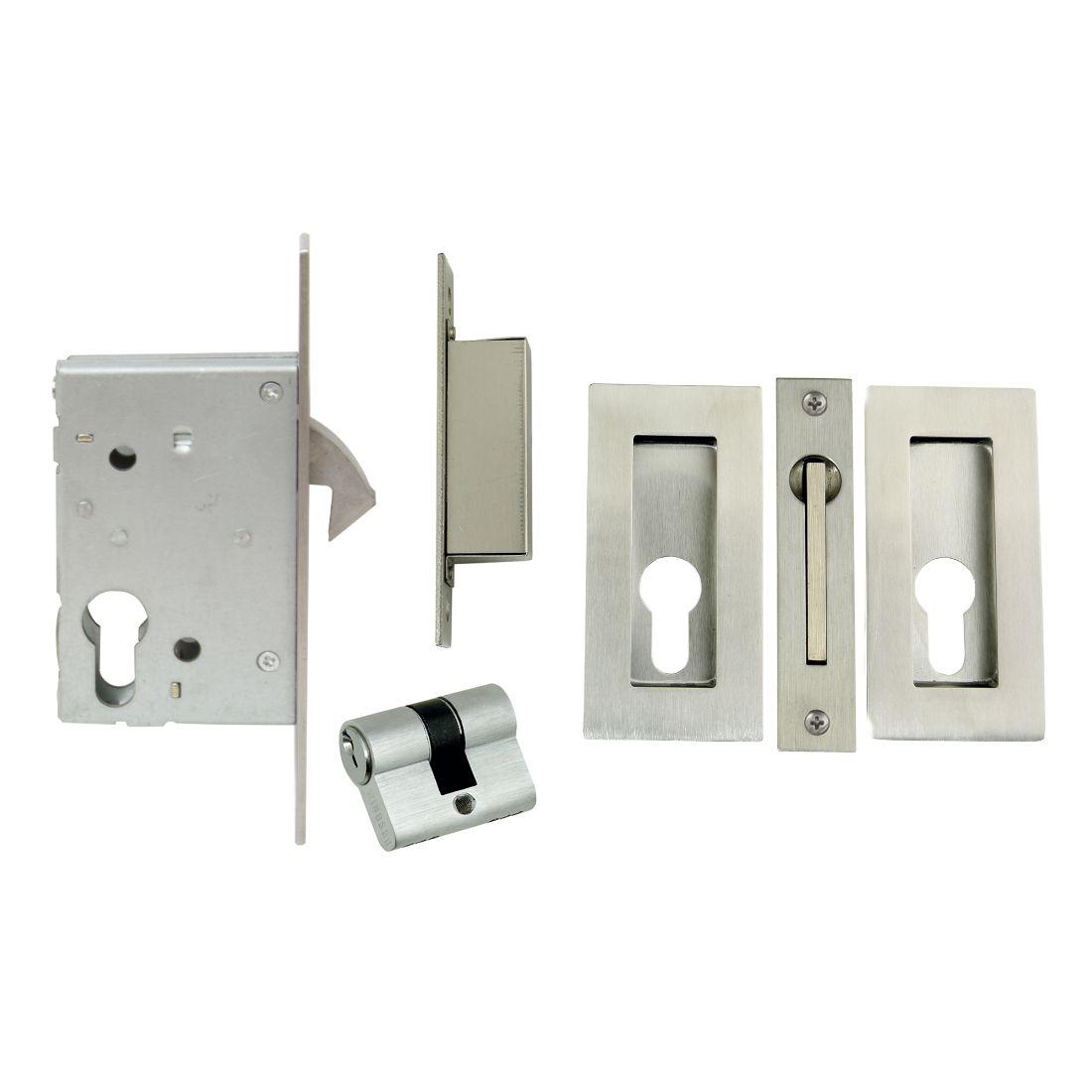 Sliding Door Lock Kit Square Flushpulls Stainless Steel