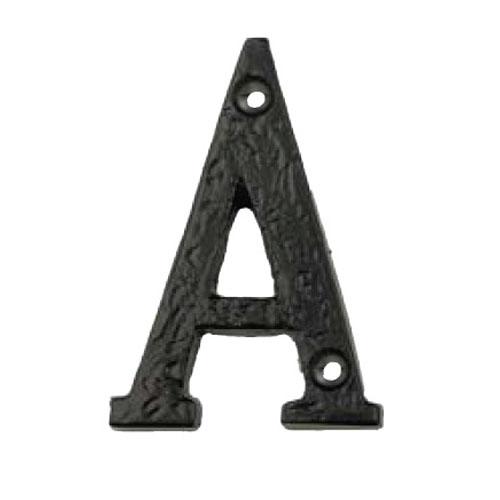 Alphabet A 76mm Black Iron Matt Black