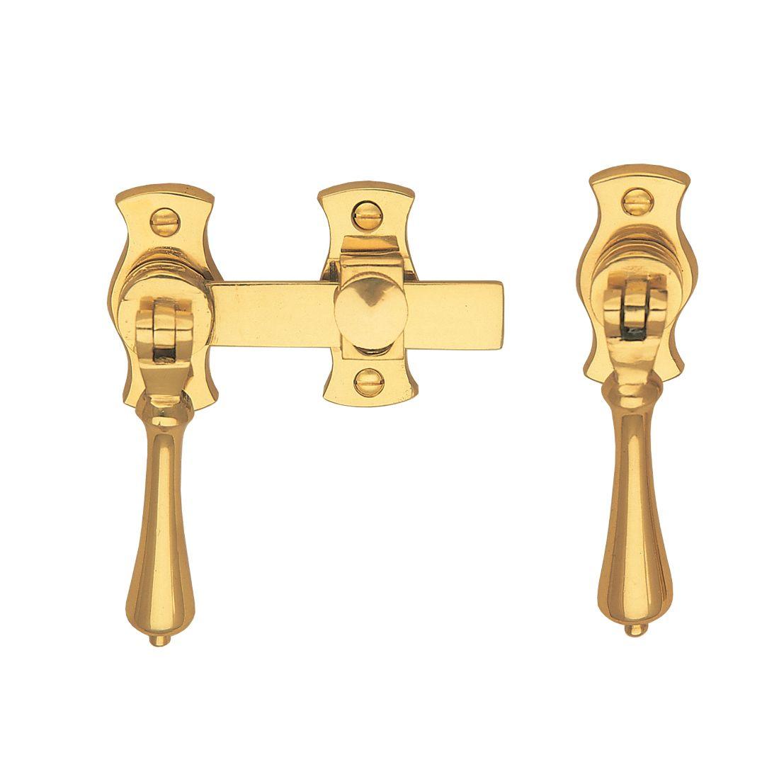 French Door Catch Teardrop Polished Brass