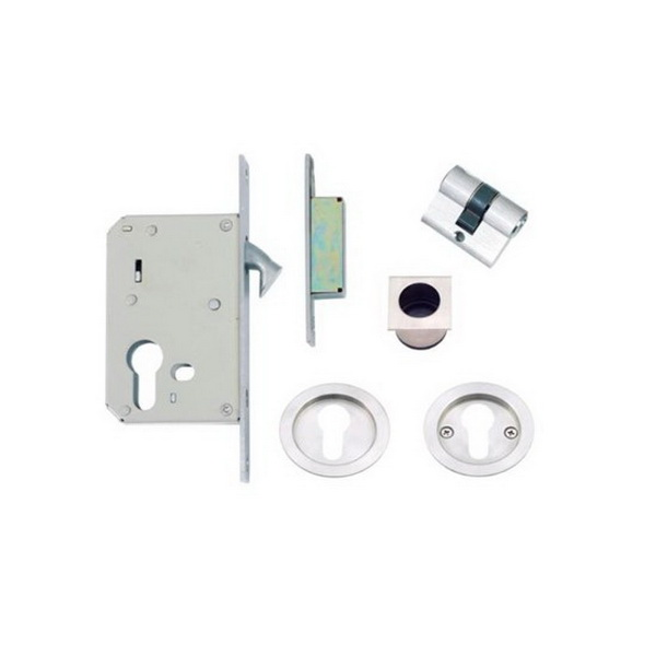 Cavity-Suite Round Sliding Locking Kit 65mm 50mm Backset 304 Stainless Steel 5335-SS