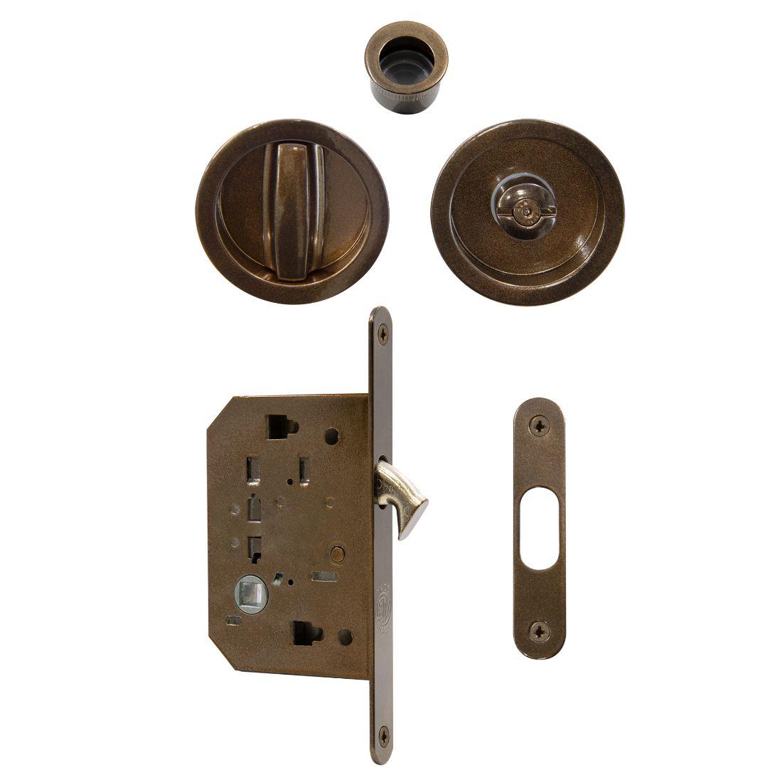 Privacy Flushpull Set Powdercoat Bronze