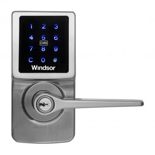 Touchscreen Card Entry Lever Entrance Set Brushed Nickel