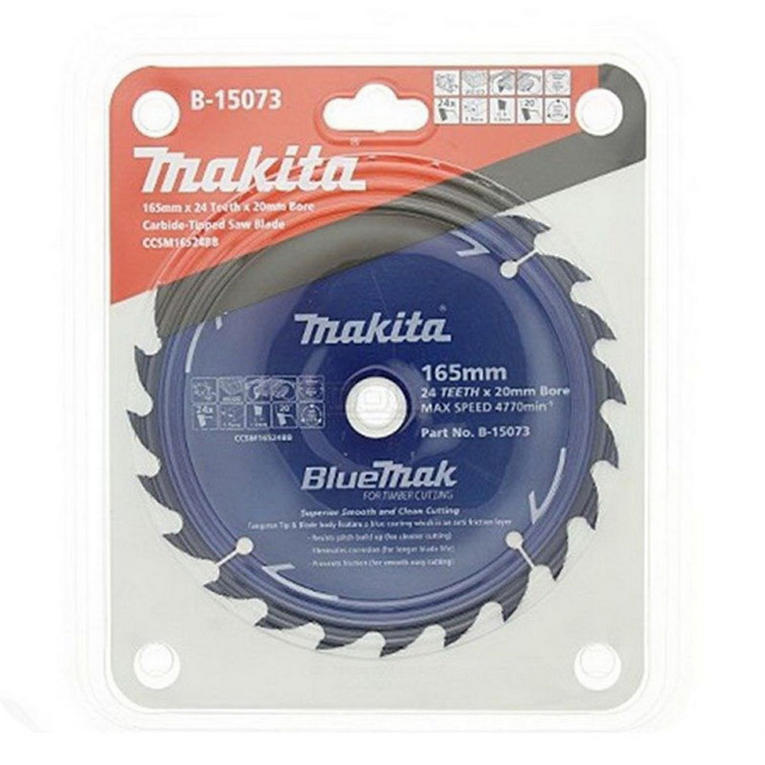 Bluemak 165 x 20mm 24TPI Cordless Circular Saw Blade Tungsten Carbide