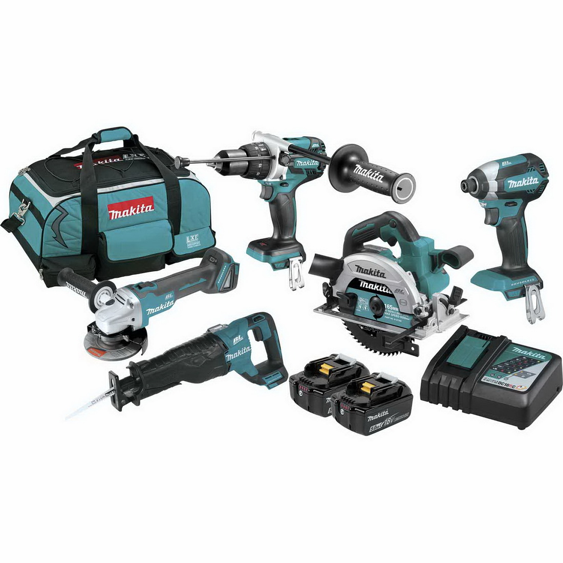 5-Piece 18V Lithium-Ion Cordless Brushless Combo Kit