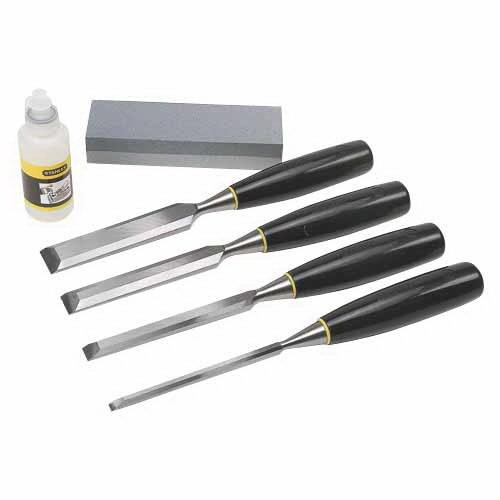 6mm 12mm 18mm & 25mm 4-Piece Chisel Set Steel with Bonus Oil & Stone