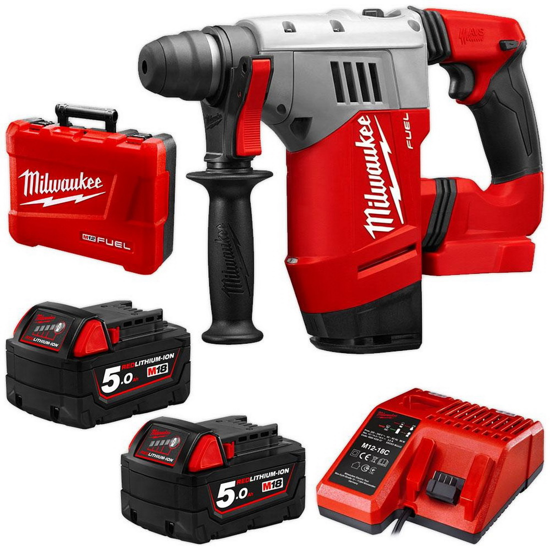 M18 FUEL SDS Plus Cordless Rotary Hammer Combo Kit 28mm 5.0Ah