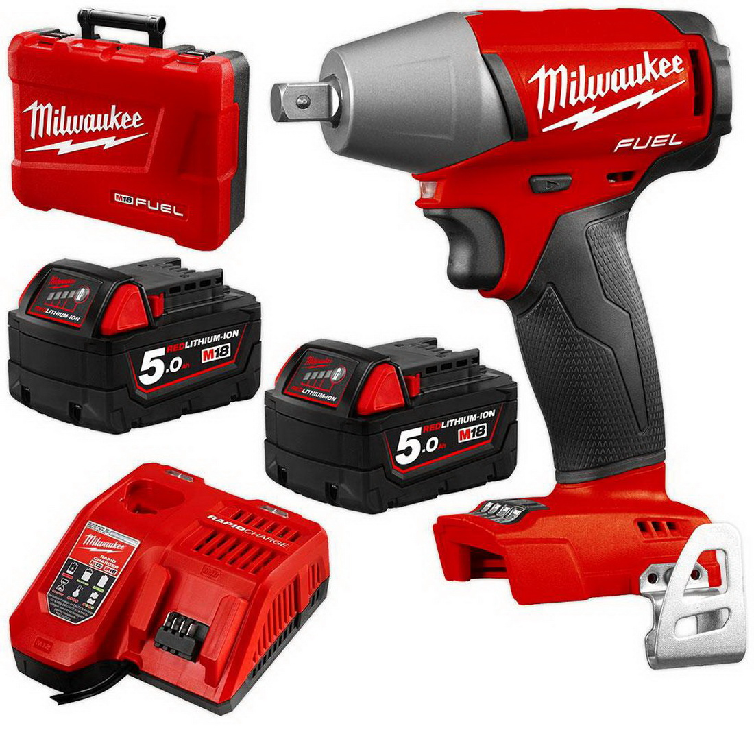 M18 FUEL Li-ion Cordless Impact Wrench Kit with Pin Detent 18V 5Ah 1/2inch 0-3200ipm M18FIWP12-502C