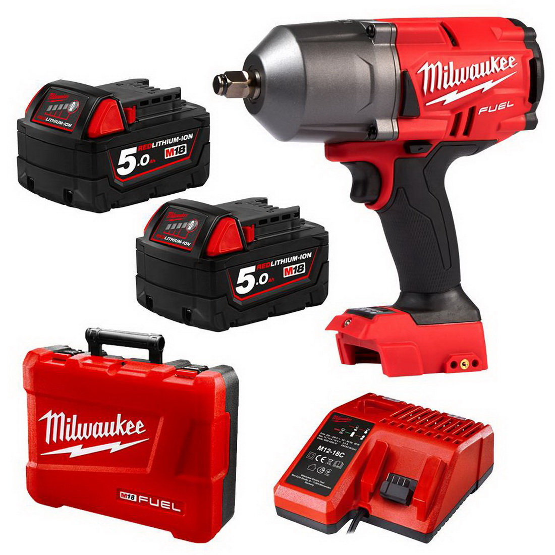 M18 FUEL Li-Ion Cordless High Torque Impact Wrench Kit with Friction Ring 18V 1/2inch 0-2100ipm M18FHIWF12-502C