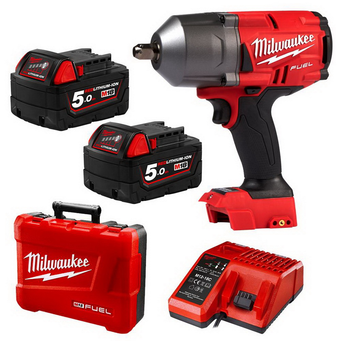 M18 FUEL Li-Ion Cordless High Torque Impact Wrench Kit with Pin Detent 18V 5AH 1/2inch 0-2400ipm M18FHIWP12-502C