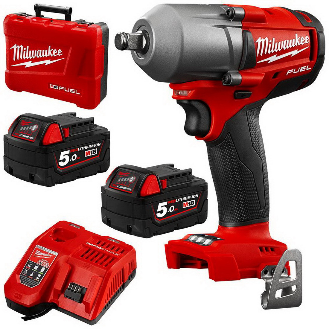 M18 FUEL Mid-Torque Impact Wrench with Friction Ring Combo Kit 18V 5Ah 1/2inch 0-3000ipm M18FMTIWF12-502C