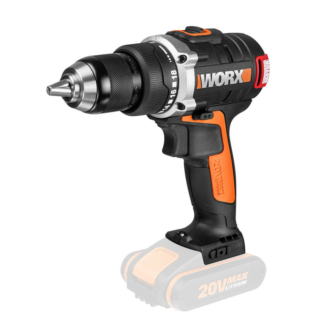 Brushless Drill Driver Skin Only 20V 13mm Chuck WX175.9