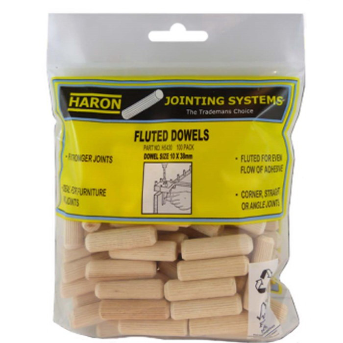 10 x 38mm Fluted Dowel 100 Pack