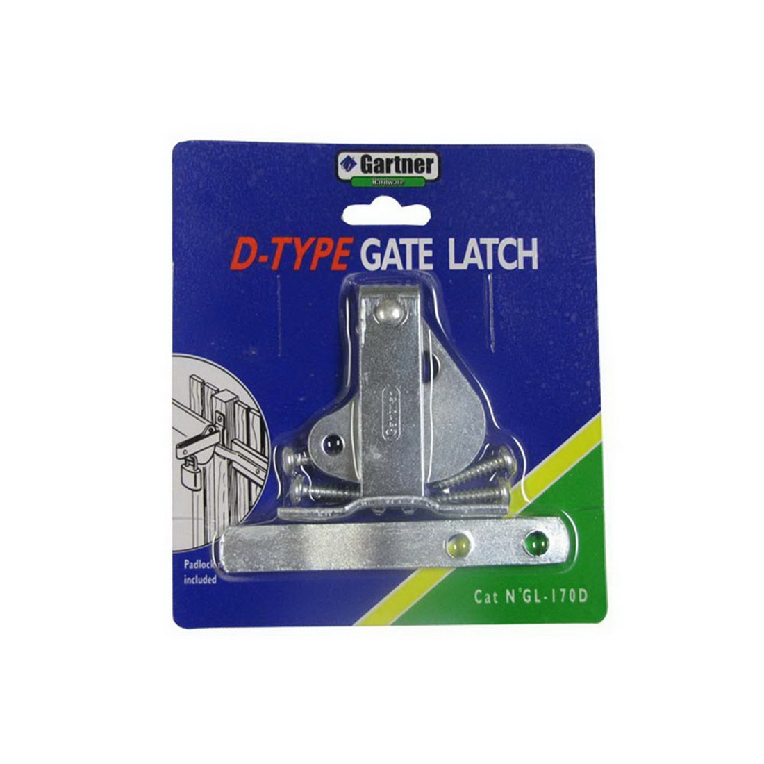 170mm Universal 'D' Gate Latch Bright Zinc Plated
