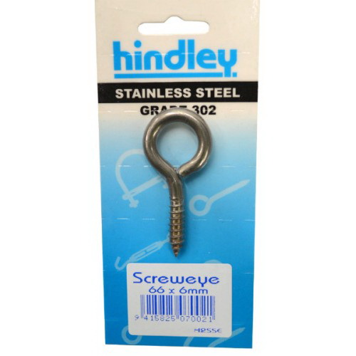 2SSE Screw Eye 66 x 6mm Stainless Steel Carded