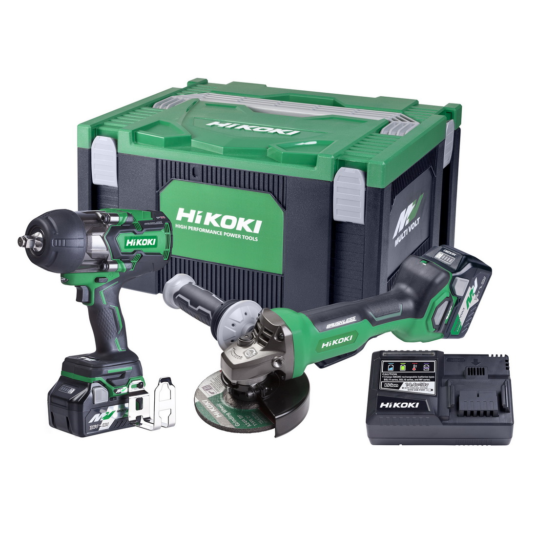 36V 1/2 Inch Impact Wrench & 125mm Angle Grinder Combo Kit