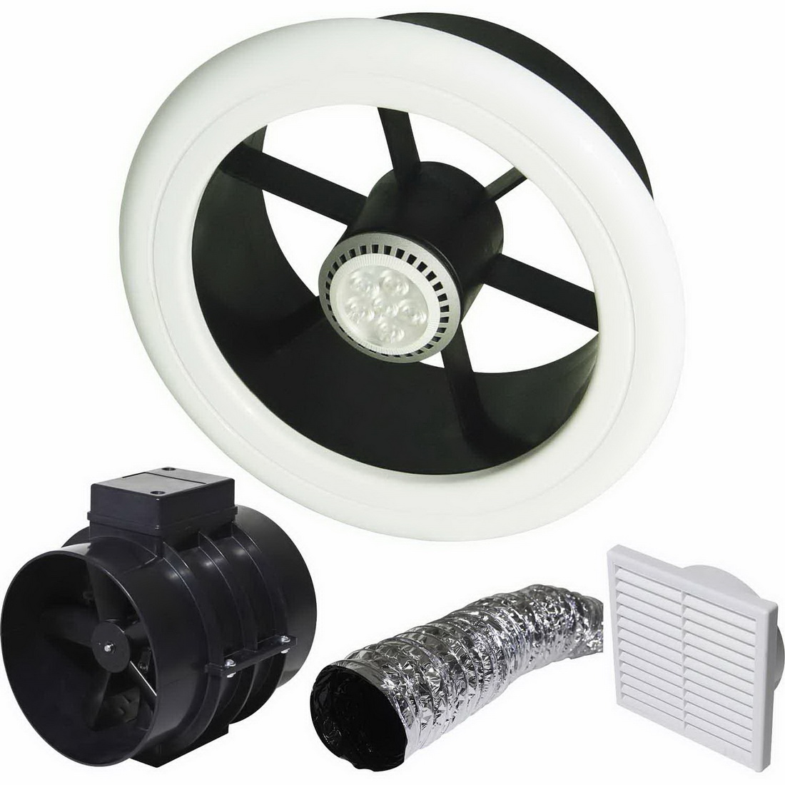 150mm Clearflow Inline Ceiling Shower Extractor with Low Voltage LED Light