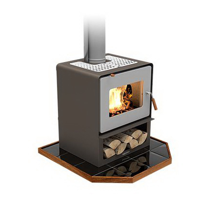 Woodsman Flare 17.1kW Wood Fire with Wood Box Metallic Brown