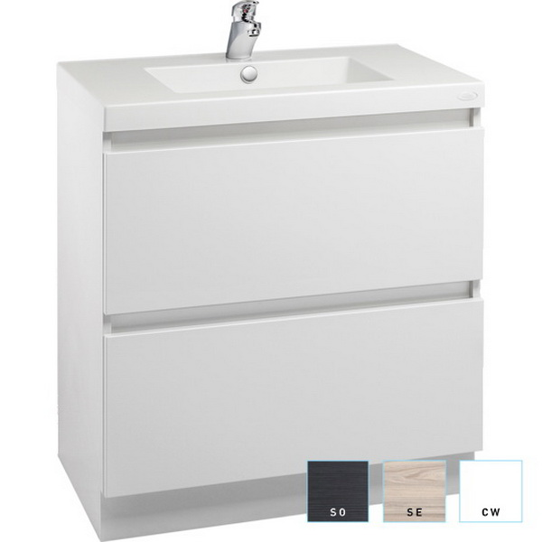 Valencia Floorstanding Vanity 600mm White 1 Bowl