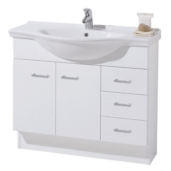 Atlanta Floor Standing 3 Drawer 2 Door Center Basin Semi Recess Vanity 865 X 500 X 840mm White Gloss Vanity Floorstanding Vanities Bathrooms Accessories Bathrooms Plumbing Placemakers