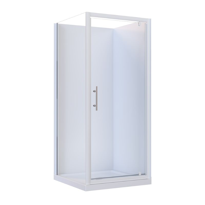 Brighton Framed Square Flat Liner 2-Sided Shower Enclosure 900 x 900 x 1950 mm Center Drain Fiberglass Reinforced Acrylic White