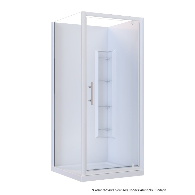 Brighton Framed Square 2-Sided Corner Moulded Wall Shower Enclosure 900 x 900 x 1950mm Center Drain Fiberglass Reinforced Acrylic White