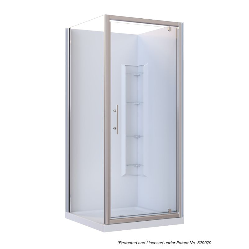 Brighton Framed Square 2-Sided Corner Moulded Wall Shower Enclosure 900 x 900 x 1950mm Center Drain Fiberglass Reinforced Acrylic Chrome