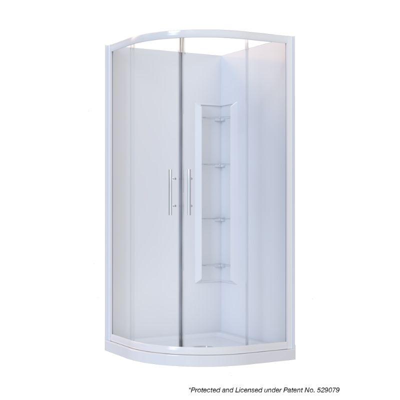 Brighton Framed Sliding Door 2-Sided Curved Corner Moulded Shower 1000 x 1000 x 1950mm White