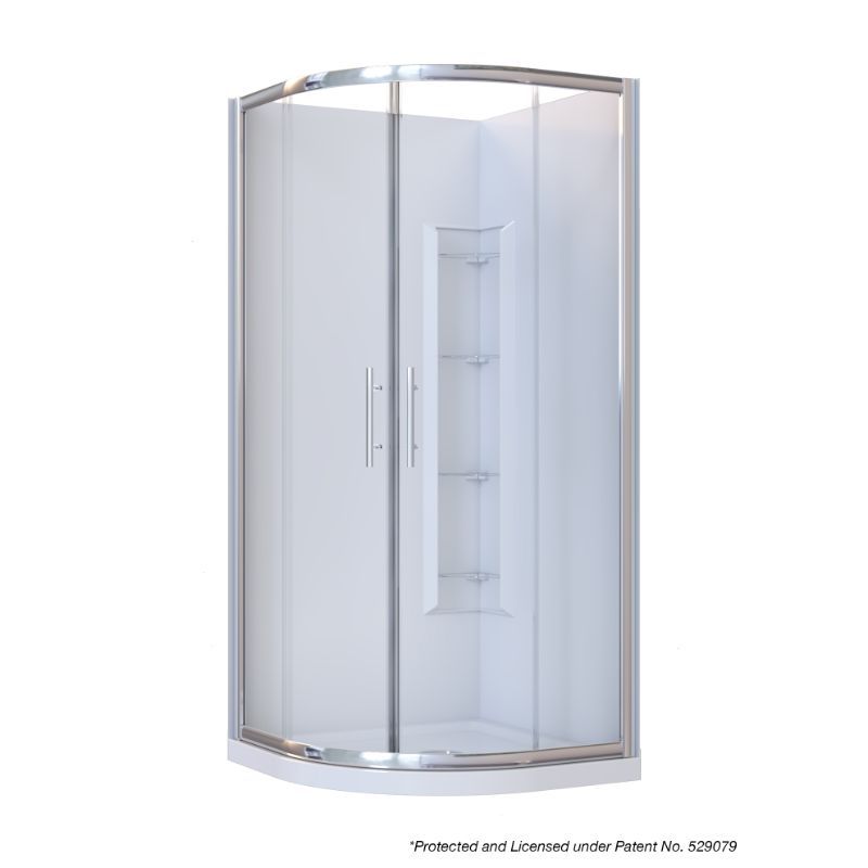 Brighton Framed Sliding Door 2-Sided Curved Corner Moulded Wall Shower Enclosure 1000 x 1000 x 1950mm Center Drain Fiberglass Reinforced Acrylic Chrome
