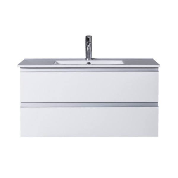 Armada 900 Wall Hung 2 Drawer Concealed Aluminium Handle White
