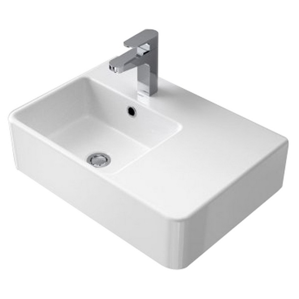 Cube Extension Wall Basin 1 Tap Hole Right Hand Shelf 864115W