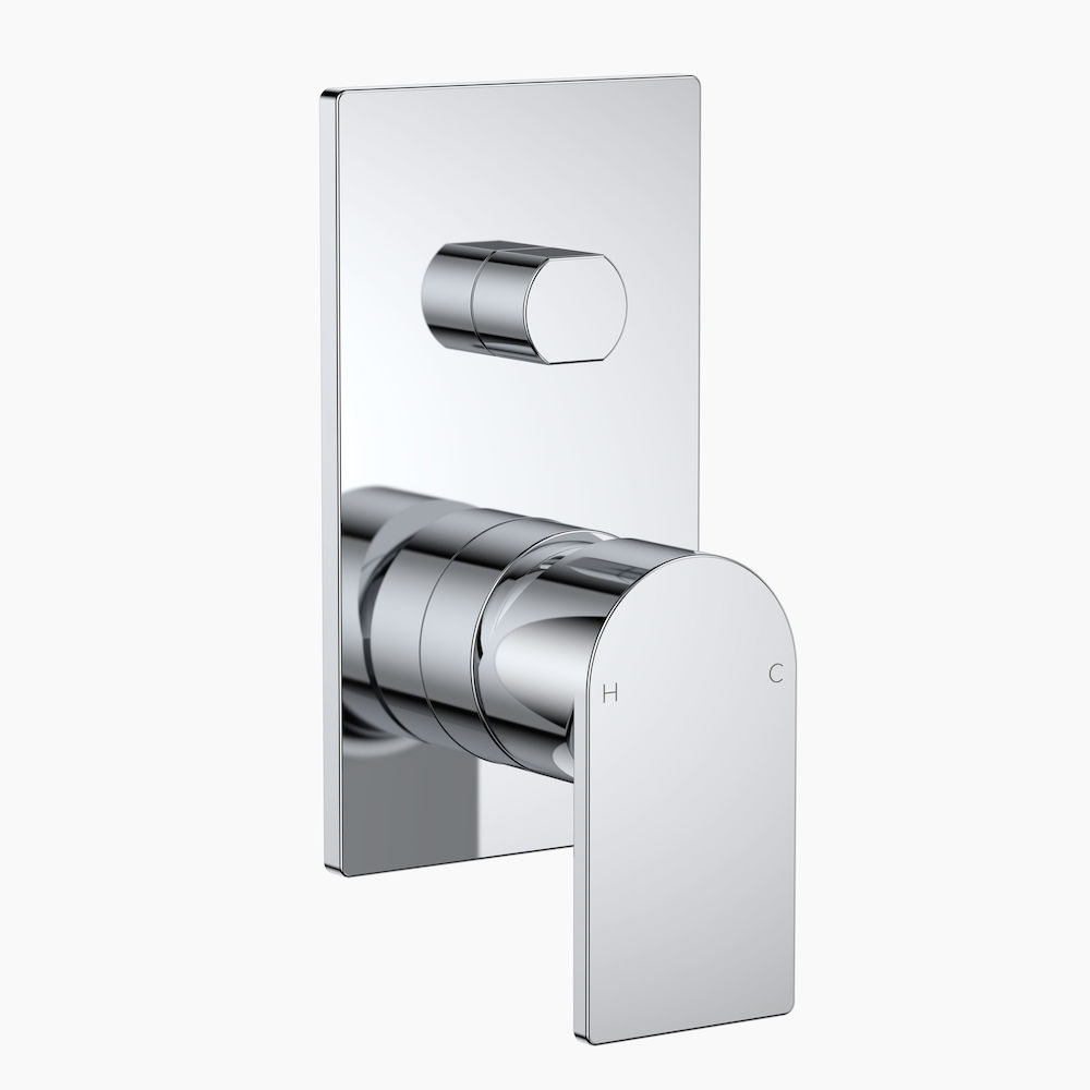 Round Square Wall Mixer with Diverter Chrome CL10033.C