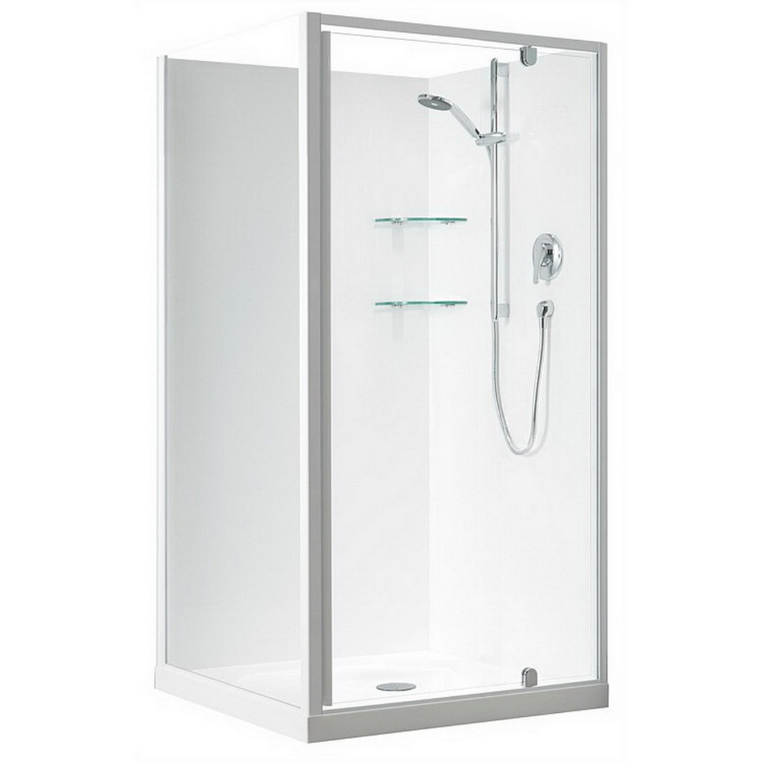 Sierra 900 x 900mm 2 Sided Square Flat Shower Enclosure White